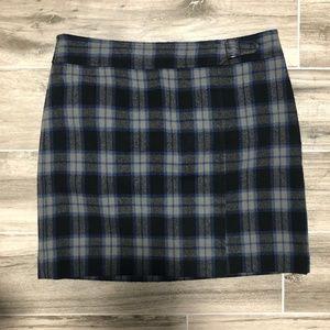Ann Taylor LOFT Front Buckle Plaid Preppy Skirt